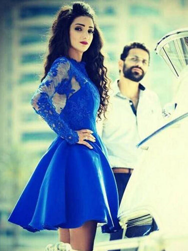 Royal Blue Homecoming Dress Long Sleeve Appliques Short Prom Dress Party Dress JKS069