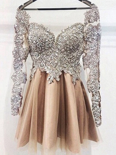 Sexy Homecoming Dress Long Sleeve Appliques Short Prom Dress Party Dress JKS072