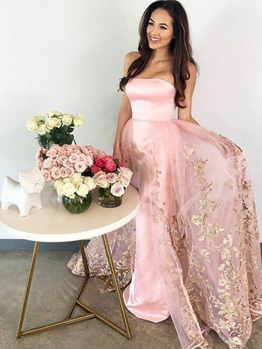 Pink Strapless Prom Dresses Sexy Gold Appliques Prom Dress/Evening Dress JKS075