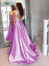 Lilac Sexy Prom Dresses Taffeta Appliques Long Prom Dress/Evening Dress JKS080