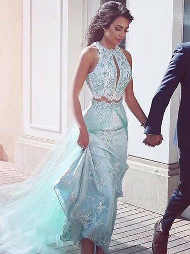 Two Pieces Prom Dress Sage Beautiful Long Prom Dress/Evening Dress JKS081