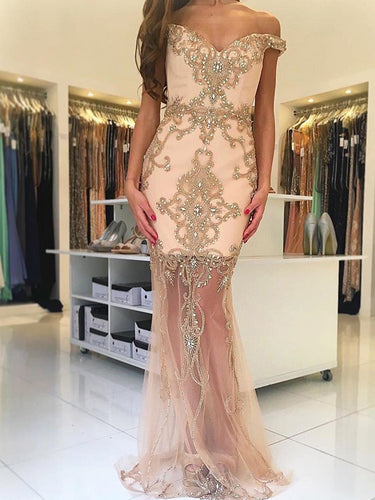 Champagne Prom Dresses Off-the-shoulder Sexy Prom Dress/Evening Dress JKS083