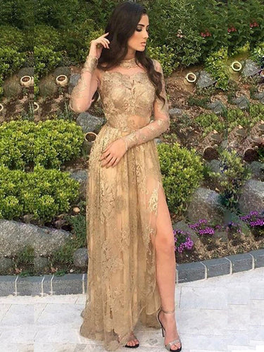 Long Sleeve Prom Dresses High Neck Silt Long Prom Dress/Evening Dress JKS084
