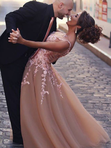 Beautiful Prom Dresses Tulle A-line Long Prom Dress/Evening Dress JKS085