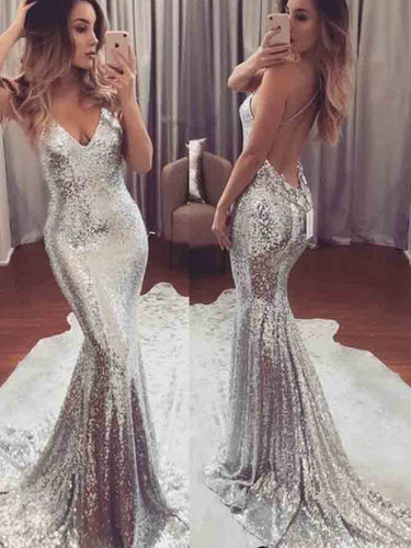 Silver Sexy Prom Dresses Trumpet/Mermaid Long Prom Dress/Evening Dress JKS086|Annapromdress
