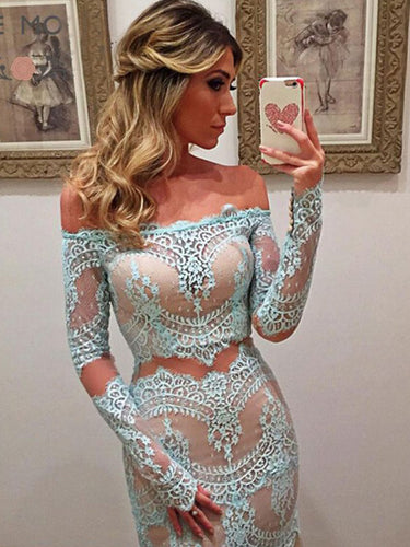 Long Sleeve Prom Dresses Off-the-shoulder Prom Dress/Evening Dress JKS089