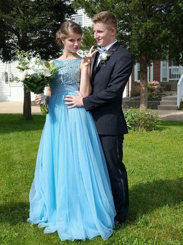 Chic Prom Dresses Bateau Bowknot Rhinestone Long Prom Dress/Evening Dress JKS090