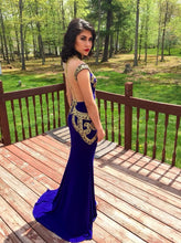 Royal Blue Prom Dresses Sheath Elastic Woven Satin Prom Dress/Evening Dress JKS092