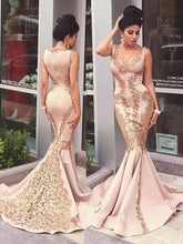 Mermaid Prom Dresses Sexy V-neck Appliques Long Prom Dress/Evening Dress JKS093|Annapromdress