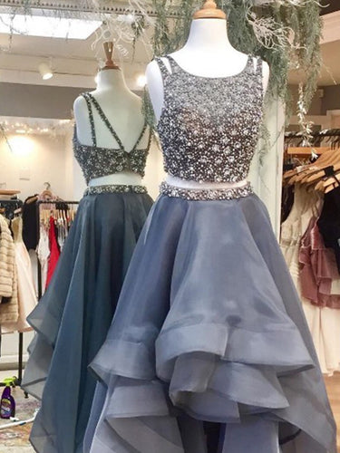 Two Pieces Prom Dresses Chic Asymmetrical Long Prom Dress/Evening Dress JKS098