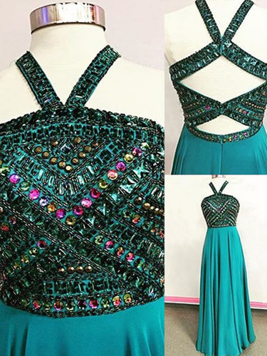 Sexy Chic Prom Dresses Halter A-line Long Prom Dress/Evening Dress JKS100