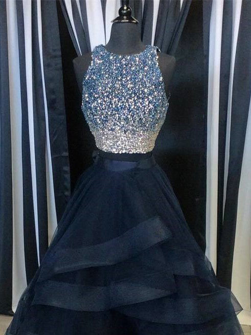 Two Pieces Prom Dresses Sexy Ball Gown Long Prom Dress/Evening Dress JKS102