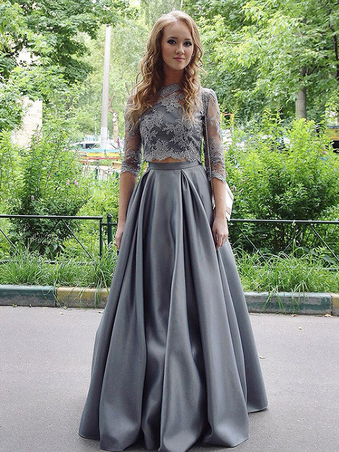 Two Pieces Prom Dresses Half Sleeve Appliques Long Prom Dress/Evening Dress JKS108
