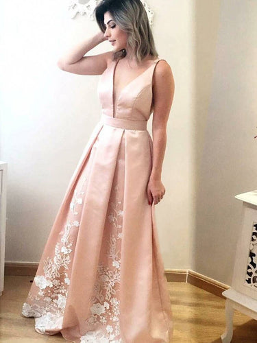Chic Prom Dresses Appliques Floor-length Satin Prom Dress/Evening Dress JKS110