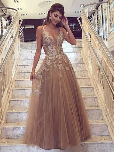 Sexy Prom Dresses Straps Appliques A-line Long Prom Dress/Evening Dress JKS114|Annapromdress