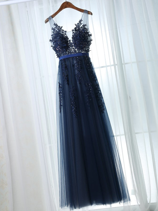 Chic Prom Dresses A-line Dark Navy Appliques Prom Dress/Evening Dress JKS115