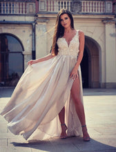 Sexy Prom Dresses with Slit Appliques Long Prom Dress/Evening Dress JKS116|Annapromdress