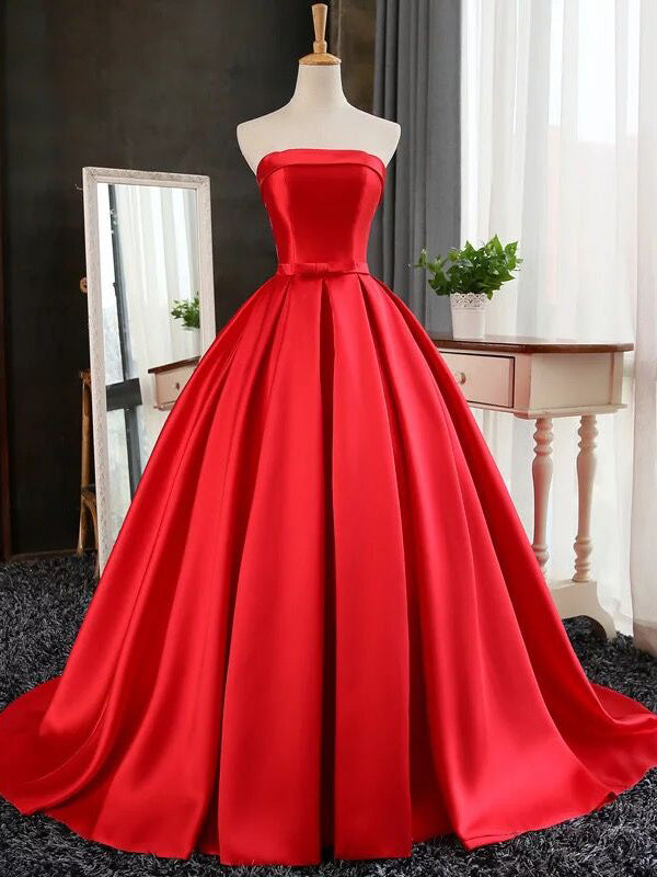 Cheap Red Prom Dress Ball Gown Sweep/Brush Train Strapless Prom ...