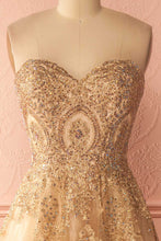 Beautiful Prom Dresses A-line Sweetheart Gold Lace-up Prom Dress/Evening Dress JKS121