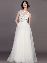 Sexy Wedding Dresses Scoop A-line Butterfly Appliques Tulle Ivory Bridal Gown JKS123