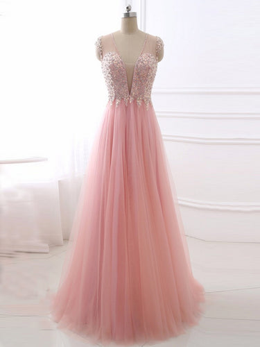 Pink Chic Prom Dresses V-neck Floor-length Tulle Rhinestone Prom Dress/Evening Dress JKS125