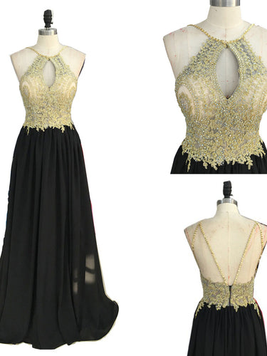 Black Halter Prom Dresses Appliques Floor-length Long Sexy Prom Dress/Evening Dress JKS127