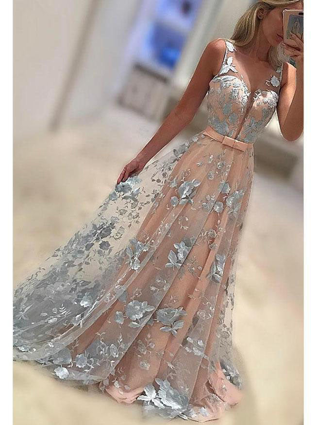 Sexy Prom Dresses Floor-length V-neck Lace Long Prom Dress/Evening Dress JKS128