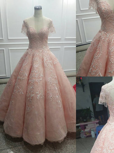 Ball Gown Prom Dresses Scoop Pearl Pink Lace Appliques Long Prom Dress/Evening Dress JKS131