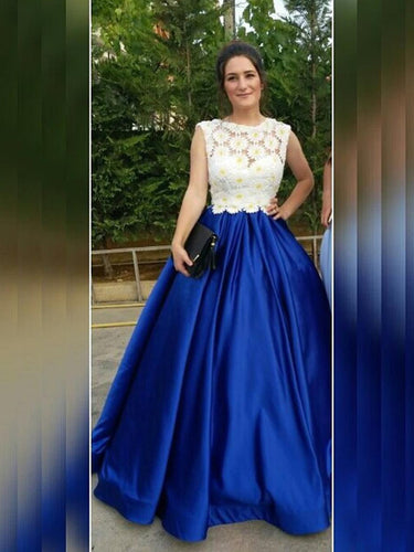 Royal Blue Prom Dresses Ball Gown Floor-length Lace Prom Dress/Evening Dress JKS132