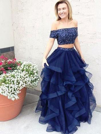 Long Two Piece Prom Dresses Dark Navy Off-the-shoulder Sexy Prom Dress/Evening Dress JKS133