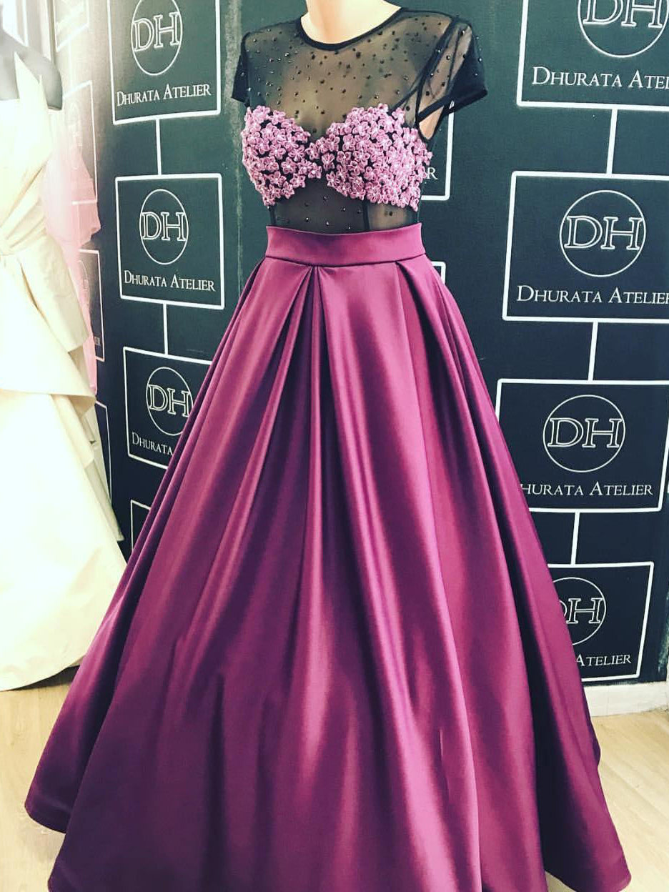 Sexy Prom Dresses Scoop Black Fuchsia A-line Satin Prom Dress/Evening Dress JKS134