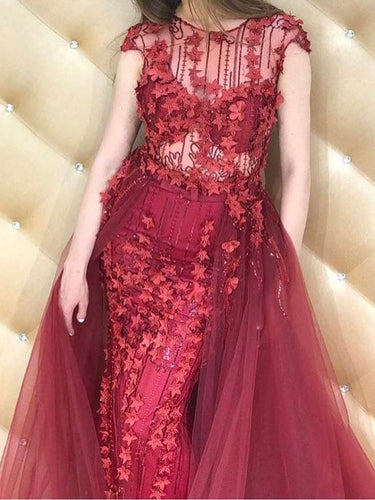 Burgundy Prom Dresses Sheath/Column Sexy Appliques Long Prom Dress/Evening Dress JKS137
