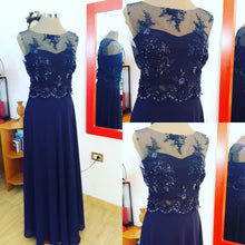 Dark Navy Prom Dresses A-line Floor-length Chiffon Long Prom Dress/Evening Dress JKS139