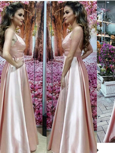 Cheap Prom Dresses V-neck Floor-length Satin Pearl Pink Prom Dress/Evening Dress JKS140