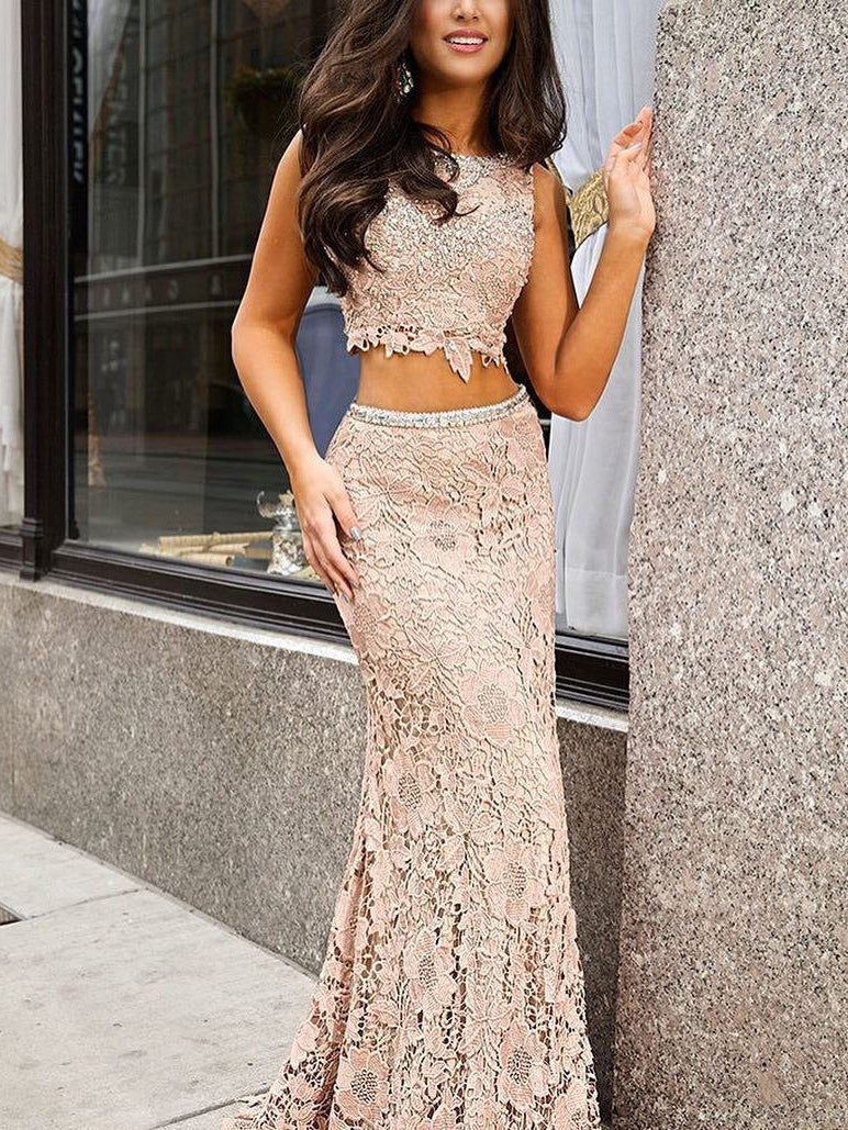 9175032c474 Two Piece Prom Dresses Short Train Sequins Long Sexy Lace Prom Dress Evening  Dress JKS142