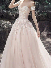 Chic Wedding Dresses A-line Sweetheart Ivory Appliques Tulle Bridal Gown JKS145