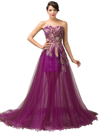 Chic Prom Dresses Sweetheart Sweep/Brush Train Fuchsia Prom Dress/Evening Dress JKS148