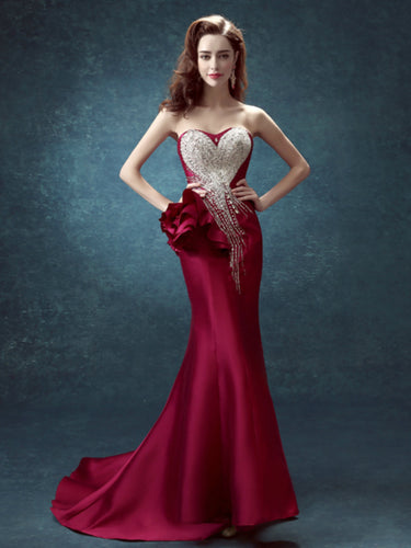 Sexy Prom Dresses Trumpet/Mermaid Elastic Woven Satin Long Prom Dress/Evening Dress JKS149