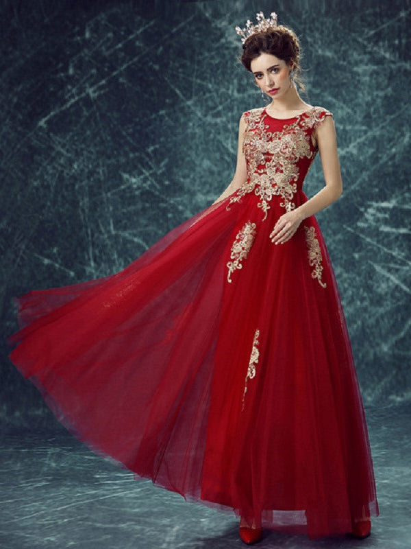 Beautiful Prom Dresses A-line Ankle-length Gold Appliques Prom Dress/Evening Dress JKS151