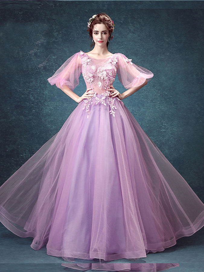Chic Lilac Prom Dresses Appliques Floor-length Beautiful Prom Dress ...