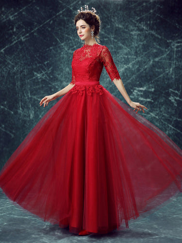 Lace Prom Dresses Scoop A-line Floor-length Half Sleeve Tulle Chic Prom Dress/Evening Dress JKS153