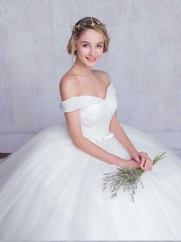Chic Ball Gown Wedding Dresses Off The Shoulder Ruffles Ivory Bridal Gown  JKS154
