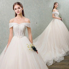 Sexy Wedding Dresses Ivory Off-the-shoulder Sweep/Brush Train Bridal Gown JKS155