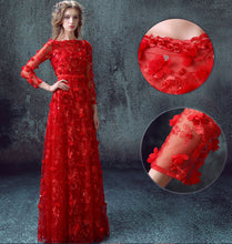Chic Prom Dresses Bateau Floor-length A-line Long Lace Prom Dress/Evening Dress JKS156