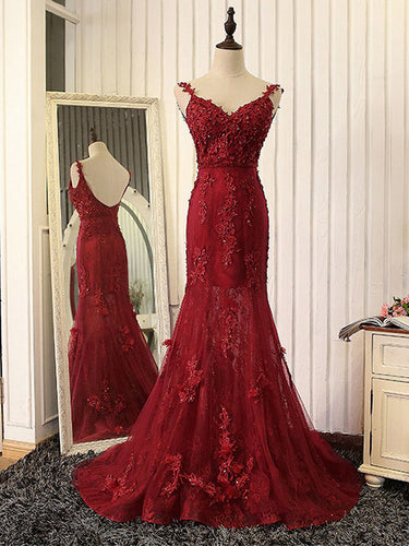 Burgundy Prom Dress Trumpet/Mermaid Sweep/Brush Train Sexy Long Prom Dress/Evening Dress JKS158