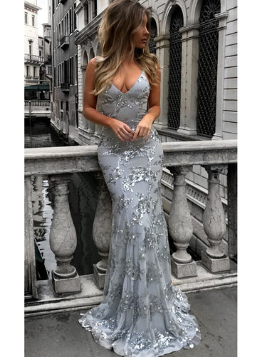 Sexy Prom Dresses Floor-length V-neck Spaghetti Straps Long Prom Dress/Evening Dress JKS160