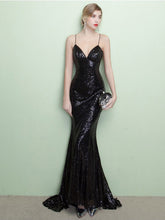 Black Prom Dresses Spaghetti Straps Sheath/Column Short Train Sexy Prom Dress/Evening Dress JKS161