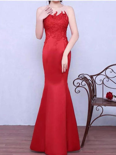 Red Prom Dresses Trumpet/Mermaid Floor-length Satin Sexy Prom Dress/Evening Dress JKS162