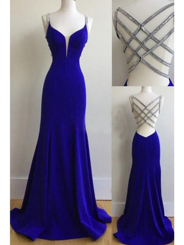Royal Blue Prom Dresses Straps Sheath/Column Sexy Prom Dress/Evening Dress JKS165