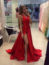 Slit Red Prom Dresses A-line Sweep/Brush Train Sexy Prom Dress/Evening Dress JKS167